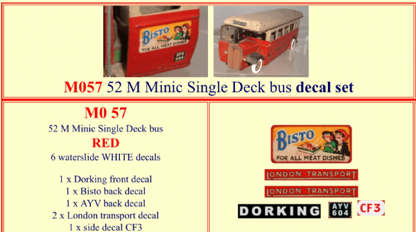 M057 52M Tri-ang ( Triang ) Minic Single Deck bus RED decal set